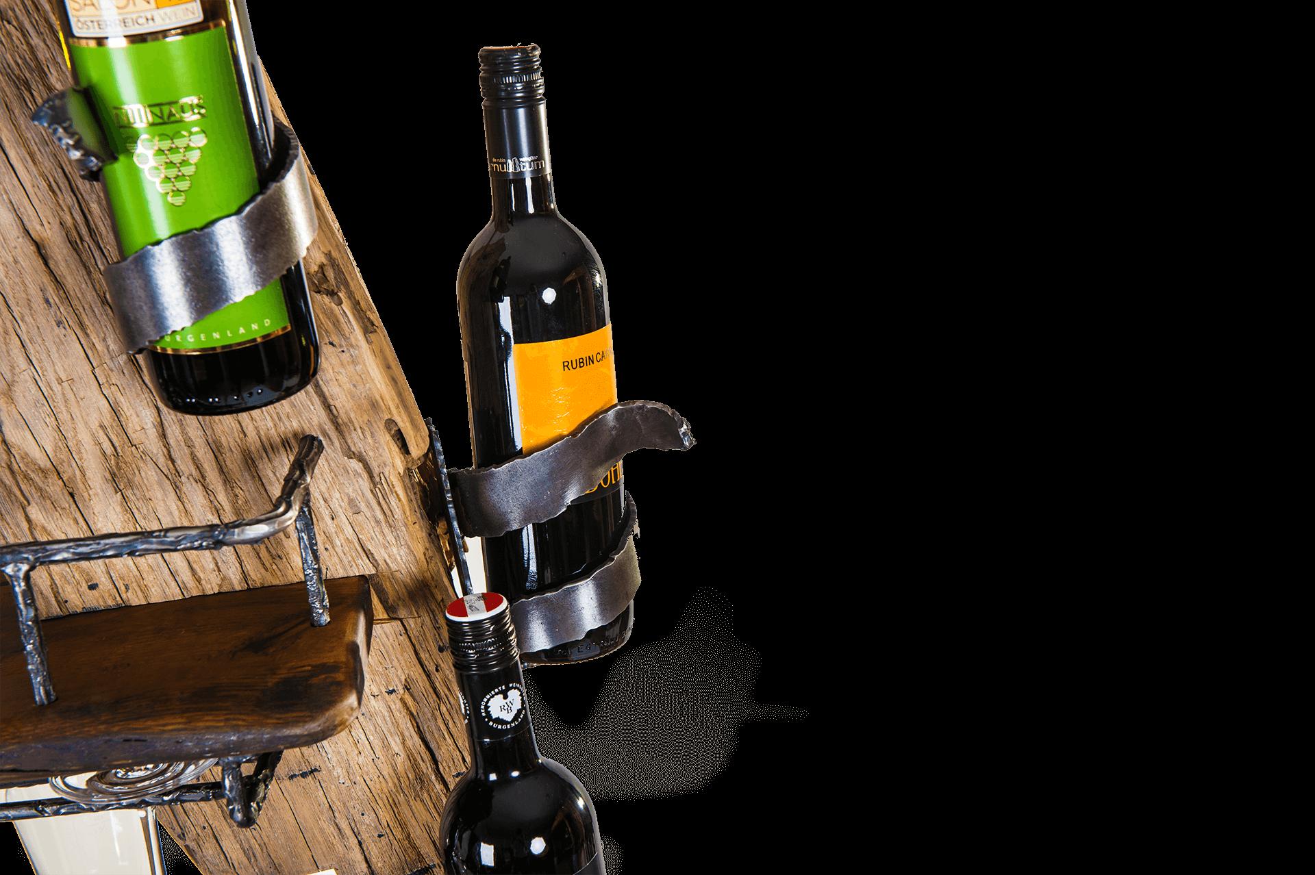 Weinmöbel / Weinbar aus Altholz mit Stahl - Barrique Möbel