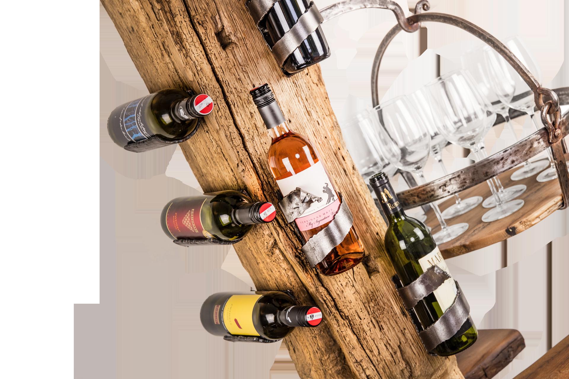 Weinbar / Weinregal aus Altholz & Stahl - Barrique Weinmöbel aus Österreich